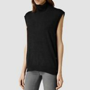 All Saints Black Coyte Wool Sleeveless Top Large